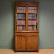 Stunning Maple & Co Edwardian Oak Antique Glazed Bookcase on Cupboard
