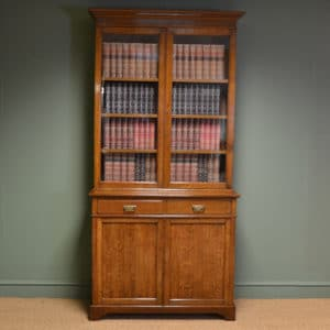 Stunning Maple & Co Edwardian Oak Antique Glazed Bookcase on Cupboard