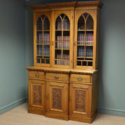 Large Victorian Mellow Mahogany Break front Antique Library Bookcase
