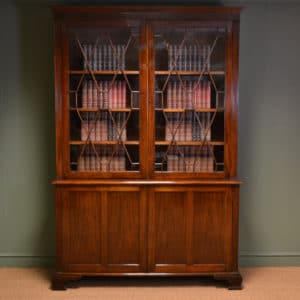 Spectacular Large Edwardian Walnut Antique Glazed Bookcase on Cupboard