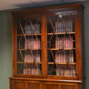 Spectacular Large Edwardian Walnut Antique Glazed Bookcase on Cupboard