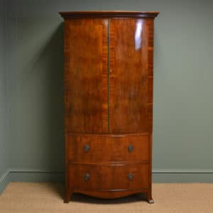 Spectacular Bow Fronted Small Edwardian Figured Mahogany Antique Wardrobe
