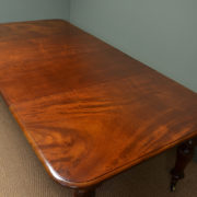 Large Figured Mahogany Victorian Antique Extending Dining Table