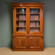 Stunning Figured Mahogany Victorian Antique Glazed Bookcase On Cupboard