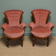 Stunning Pair of Victorian Figured Walnut Antique Bedroom / Side Chairs