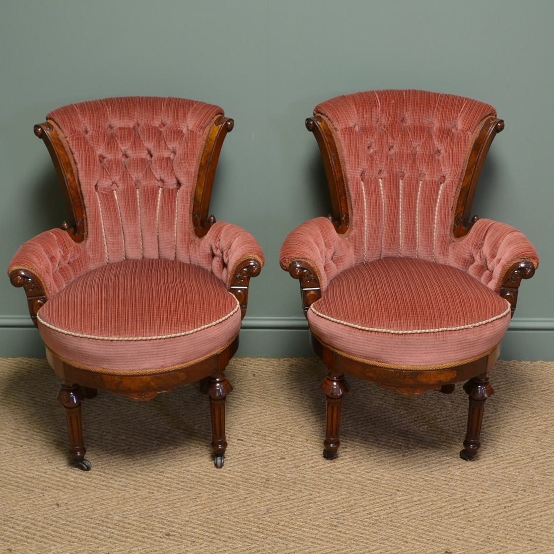 Stunning Pair Of Victorian Figured Walnut Antique Bedroom Side Chairs Antiques World