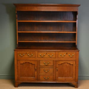 Period Oak Georgian Antique Dresser with Rack