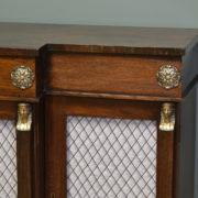 Striking Break Fronted Regency Mahogany Neoclassical Antique Sideboard / Cupboard