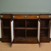 Striking Break Fronted Regency Mahogany Neoclassical Antique Sideboard / Cupboard