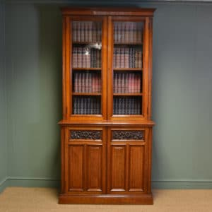 High Quality Victorian Warm Walnut Antique Bookcase on Cupboard by Edwards & Sons
