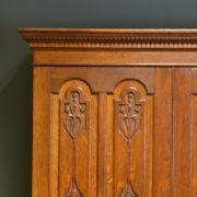 Stunning Art Nouveau Victorian Oak Antique Wardrobe