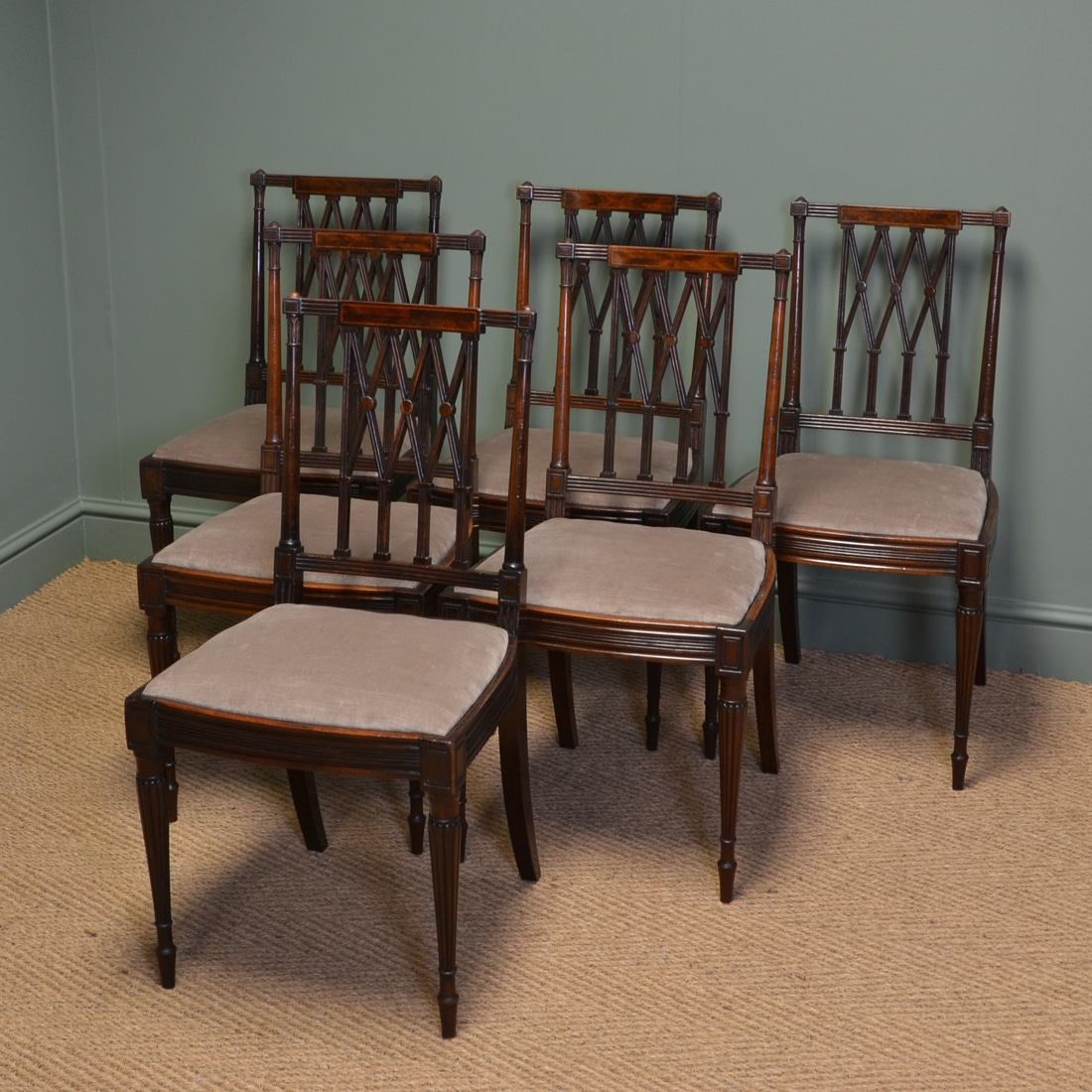 Quality Dining Chairs: Fine Quality Set Of Six Edwardian Antique Mahogany Dining