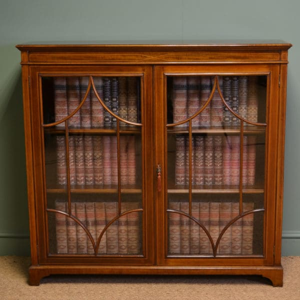 Impressive Victorian Glazed Mahogany Inlaid Antique Bookcase
