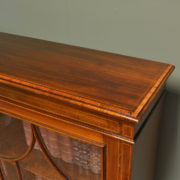 Impressive Victorian Glazed Mahogany Inlaid Antique Bookcase