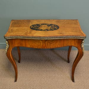 Spectacular Figured Walnut Antique Side / Card Table with Brass Ormolu