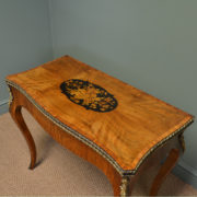 Spectacular Figured Walnut Antique Side / Card Table with Brass Ormolu