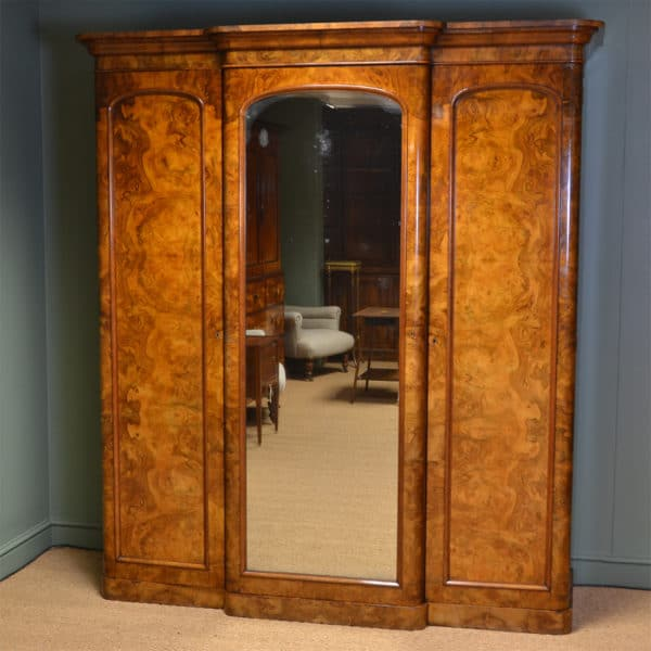 Magnificent Large Victorian Figured Walnut Antique Triple Wardrobe