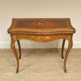 Spectacular Walnut Edwardian Inlaid Antique Games Table / Side Table with Decorative Ormolu