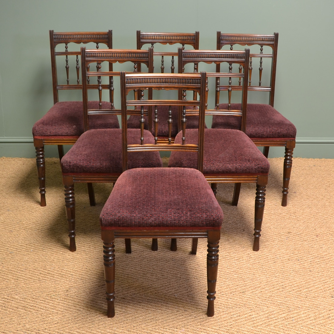 Quality Set of Six Victorian Walnut Antique Dining Chairs by Hampton & Sons