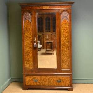 Spectacular Victorian Figured Walnut Antique Double Wardrobe