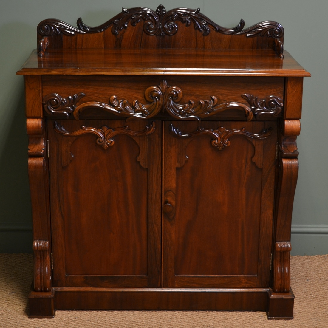 High Quality Regency Rosewood Antique Chiffonier / Cupboard