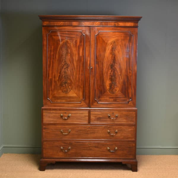 George III Figured Mahogany Antique Linen Press