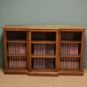 Country House Victorian Antique Walnut Break Front Open Bookcase