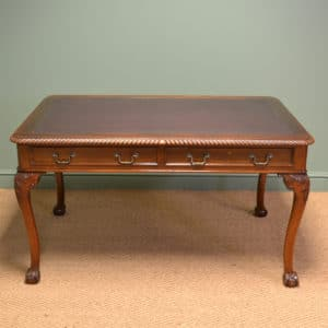 Large Quality Edwardian Walnut Antique Writing Table / Desk