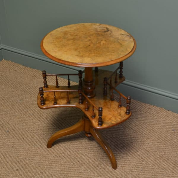 Rare Spectacular Figured Walnut Antique Victorian Bookstand / Occasional Table