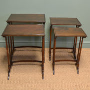 Quality Edwardian Walnut Nest of Four Antique Tables