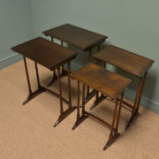 Quality Edwardian Walnut Nest of Four Antique Tables