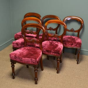 Set of Six Harlequin Victorian Mahogany Antique Balloon Back Dining Chairs