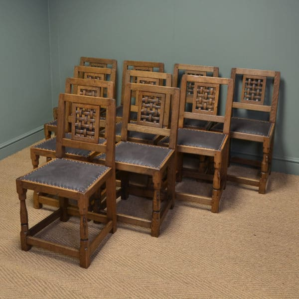 Rare Set of Ten Oak Mouseman Antique Dining Chairs