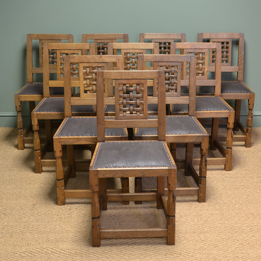 Set of Oak Mouseman Dining Chairs