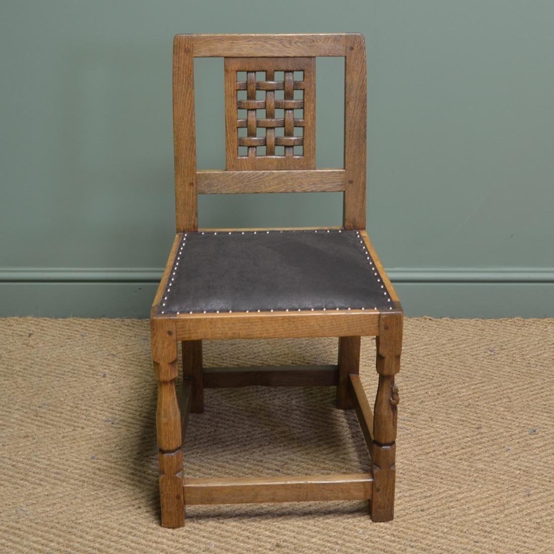 Single Oak Mouseman Antique Dining Chair