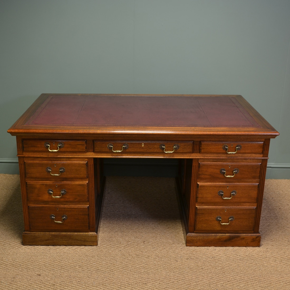 Superb quality large edwardian walnut antique office desk - Walnut office desk ...
