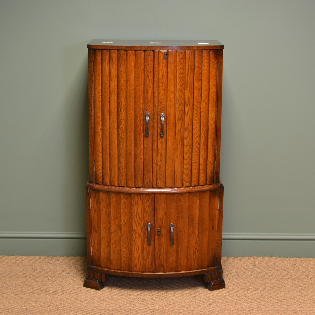 Unusual Antique Art Deco Oak Drinks Cabinet with Fitted Interior ...