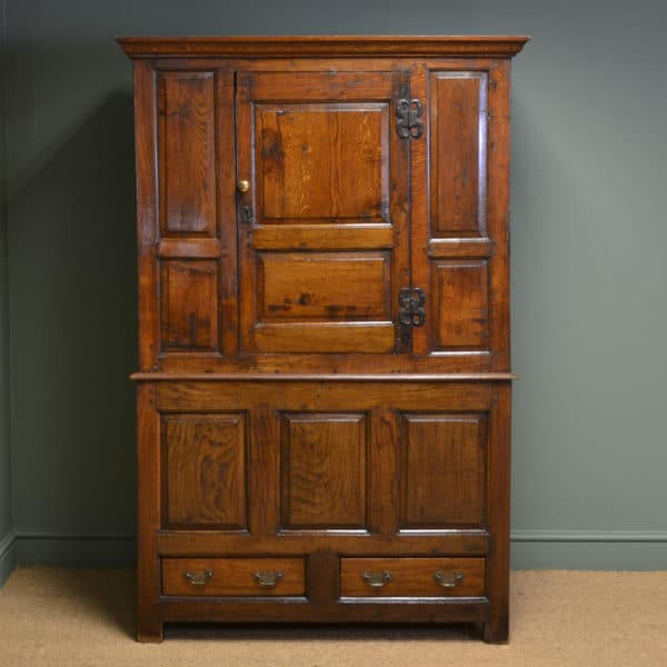Early Eighteenth Century Period Oak Antique Harness Cupboard