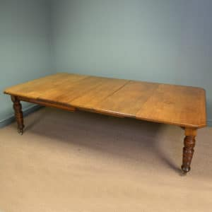 Large Golden Oak Victorian Antique Wind Out Extending Dining Table