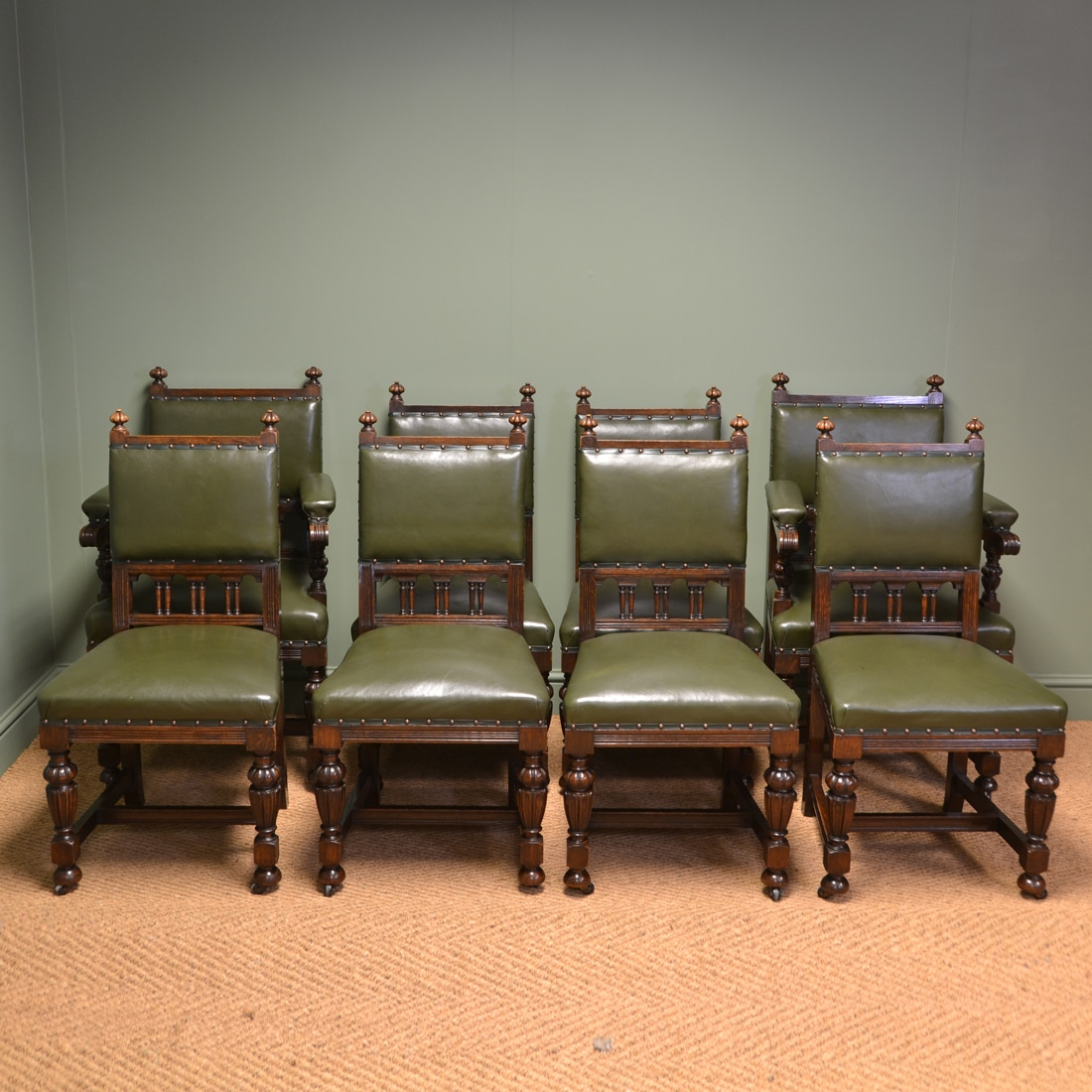 Quality Set Of Eight Antique Edwardian Oak Dining Chairs ...