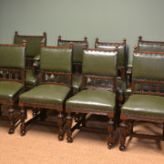 Quality Set Of Eight Antique Edwardian Oak Dining Chairs