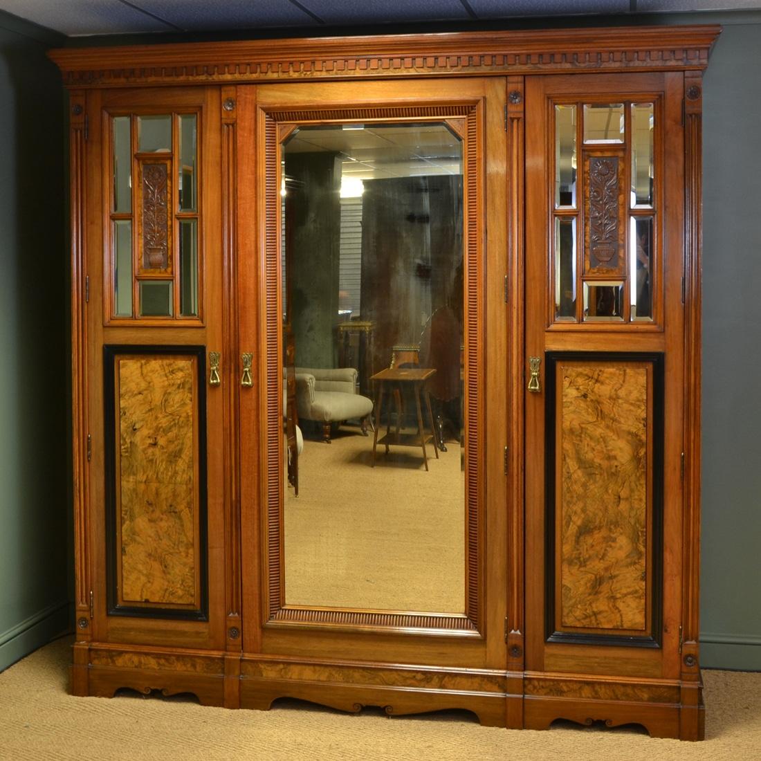 Magnificent Huge Victorian Golden Walnut Antique Triple Wardrobe by Harrison & Son Burnley
