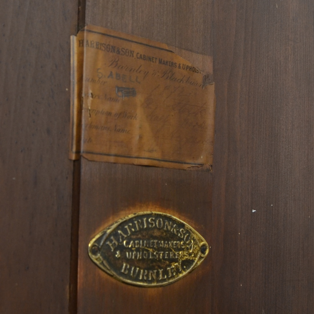 cabinet makers label Harrison & Son Burnley