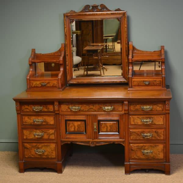 Large Figured Walnut Victorian Antique Dressing Table