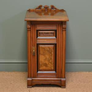 Superb Quality Victorian Figured Walnut Antique Bedside Cabinet