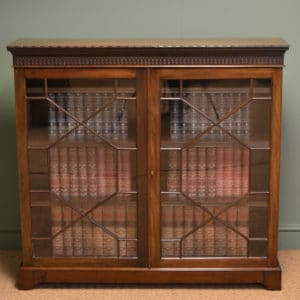 Stunning Maple & Co Edwardian Walnut Antique Glazed Bookcase