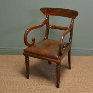 Spectacular Georgian Mahogany and Leather Desk Chair