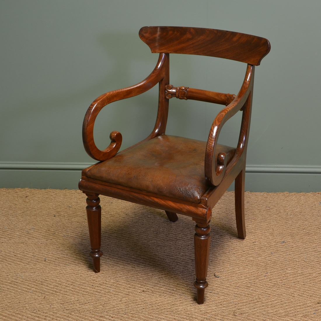 Pleasing Spectacular Georgian Mahogany And Leather Desk Chair Machost Co Dining Chair Design Ideas Machostcouk