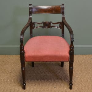 Quality Regency Mahogany Antique Desk Chair / Armchair.