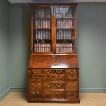 Rare Antique Georgian Mahogany Bureau Bookcase